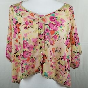 Band of Gypsies short sleeve floral button top L